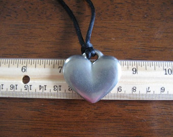 Heavy Pewter Heart Pendant On Black Cord