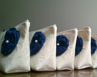 Set of 5, Spring Wedding Bridesmaid Clutches, Navy Wedding, Nautical Themed Wedding, Dark Blue, Linen Clutches, Burlap Wedding Ideas