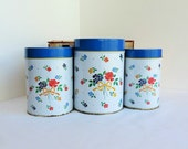 Kitchen Canisters Blue and White Storage Cans with Flowers