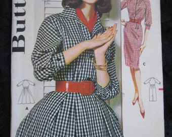 1960 BUTTERICK PATTERN of Ladies Shirtdress