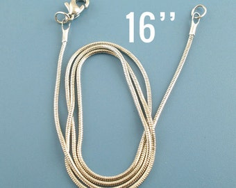 "1 Silver Snake Chain Necklace - Antique Silver - Lobster Clasp - 16"" Long - Ships IMMEDIATELY from California - CH321"