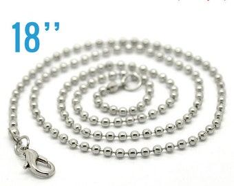 "48 Necklaces 2.4mm Antique Silver Ball Chains - 18""  -  Ships IMMEDIATELY  from California - CH257c"