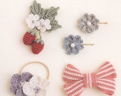 Japanese Crochet Patterns, Crochet Hair Accessories, Crochet Flower, Floral Corsage, Free Shipping No.48