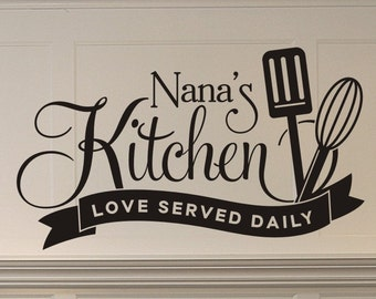 Nanas Kitchen Love Served Daily wall decal with spatula and whisk kitchen or dining room wall decor