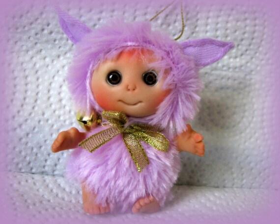 "Violet Purple Pink Cute  Doll "" Magnolia tree troll""  Baby Doll, Easter gift  TT Team"