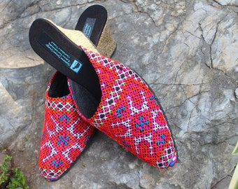 Hmong Embroidered  Slide Womens Shoes Wedge Heel Vegan Fuchsia And Tangerine - Veronica