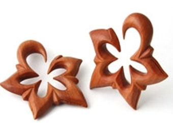 Organic Flower Tribal Floral Wood Ear Hook Plugs Gauges NOG-129
