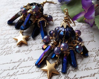 Cosmos, Deep Blue Brass Titanium Blue Quartz Points Iridescent Blue Druk Czech Beads & Star Chandeliers