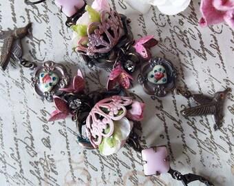 Pink Filigree Flower Basket Guilloche Heart Vintage Patina W German Vintage Stone & Bird Dangle Earrings