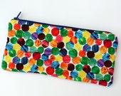 Rainbow dots Pencil Case / Cosmetics / Make up Bag
