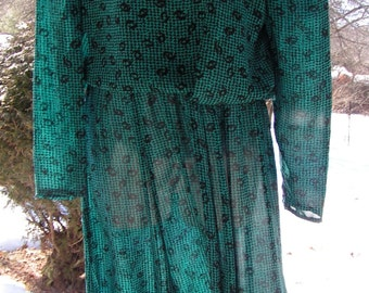 70s TEAL Blue Houndstooth Print Dress Alison Peters Made in USA Long Sleeve Small to Medium