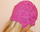 Hand Crochet  Hat, Beanie, Slouchy, Womens,  pink oversized hats