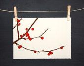 Berry Branch - LINOCUT - Hand printed
