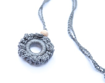 Teething rings nursing necklace/ pendant teething toy. Mother's day gift. Grey girls pendant.