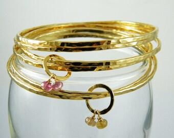 Stacking bracelet set Gold bangle set gold stackable bracelets