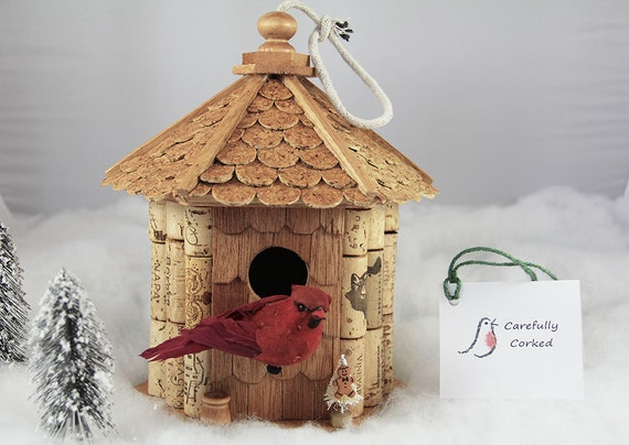 Gazebo birdhouse wood and wine corks by carefullycorked on for How to build a birdhouse out of wine corks