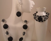 Jet Black Glass Clear Glass with Black and Silver Center Pewter Spacers and Silver Metal Spacers Necklace Earrings Bracelet Set