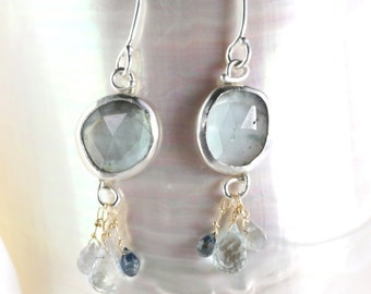 Rose Cut Aquamarine Earrings with Aquamarine & Sapphire Briolettes