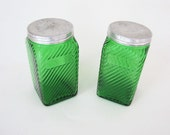 Vintage Green Owens Illinois Ribbed Depression Glass Kitchen Canisters