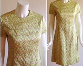 Vintage Malcolm Starr Lime Green Brocade Suit Dress