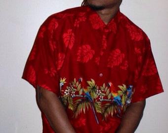 1990s Men's Red Hawaiian Bird Shirt
