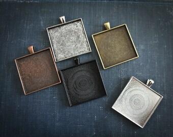 6 - 35 mm - Extra Large  Square Blank Photo Pendant Trays customizable blank Settings LEAD FREE