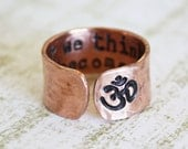 Om ring. What we think we become. Inspirational ring. Copper quote ring. Yoga gift. Hand stamped secret message quote ring. RTS RC001