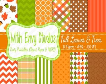 SALE  Fall Digital Scrapbook Paper Pack,Fall Leaves Digital Paper Pack - Fall Trees Paper Pack,
