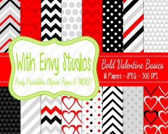 SALE  Valentines Day Digital Scrapbook Paper Pack - Valentine Scrapbook Paper Set - Red and Black Paper - Commercial Use Ok