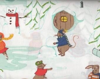 "EOB Clearance, 32"" Fabric, Snow Fabric, Winter Fabric, Sleigh Fabric, Rabbit Fabric, Holiday Fabric, Snowman Fabric, Winter Fun, 05050"