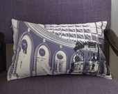 Leeds Corn Exchange Hand Printed Cushion - Lavender/Charcoal