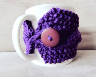 Knit Cup Cozy Knitted Coffee Mug Sleeve Purple Mug Warmer Crochet Cup Sweater