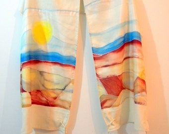 Tallit  (Negev Clear Day 17166) 70.87 in x 15.75 in (180cm x 40cm) Raw silk and hand painted Habotai silk