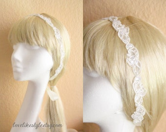 Skinny Ivory sequined Lace Head Band, Ivory Head Tie, Head Piece, Bridal Hair Accessories, Bridesmaid Headband