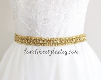 Gold Sequined and Beaded Lace Old Gold  Ribbon Sash, Bridal Gold Sash, Bridesmaid Sash, Gold Sequined Headband.