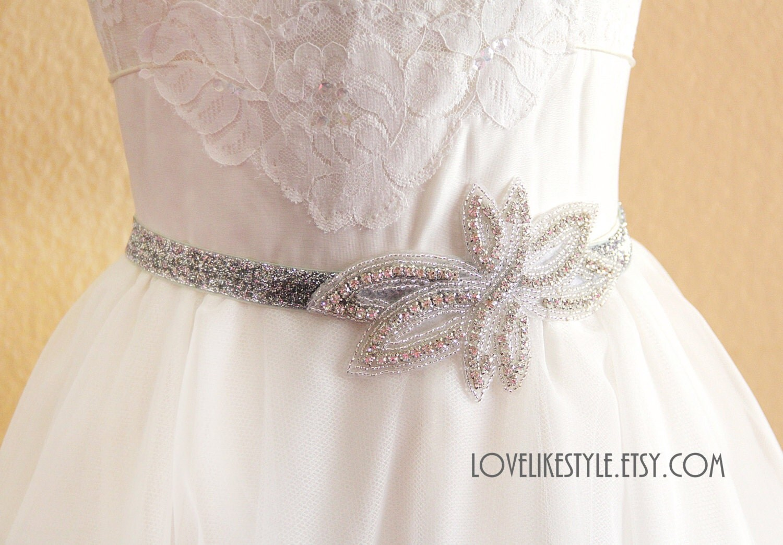 silver gltter elastic lace belt with rhinestone flower