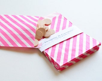 """50 Patterned Pink Lines Paper Bags Size 5 1/8 x6 3/8"""" -Candy Bags -Birthday Paper Bags -Pink Paper bags -Wedding Favor Bags -Birthday Bags"""