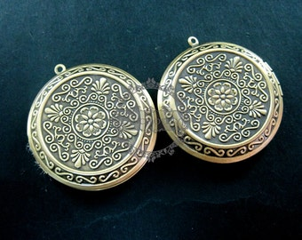 wholesale 5pcs vintage brass bronze locket pendant,photo locket,round locket 1111018
