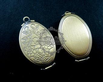 5pcs 20x30mm antiqued bronze plated brass bird flower engraved vintage style oval photo locket pendant charm DIY 1121006