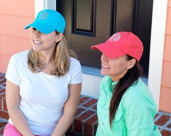 Soft cotton unstructured twill ball cap in great summer colors   Monogrammed in your choice of font and color