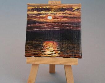 "Water Art Original Acrylic Painting 3""X3"": Lake Michigan Whisper"