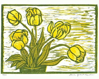 Hand-printed card of yellow tulips.
