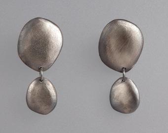 Oxidized Sterling Silver Pebble Drop Earrings