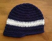 Crochet CLASSIC UNISEX NEWSBOY brimmed beanie hat - baby, toddler, child, teen & adult