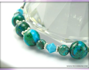 Swarovski Crystal & Natural Chrysocolla Gemstone Beaded Necklace