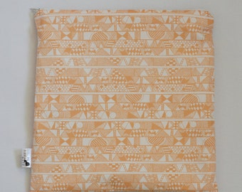 Orange Tribal PUL Lined Wet Bag with Zipper Close