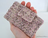 Ships Now:  SMALL BIFOLD WALLET - Business Card Wallet - Pink Boucle