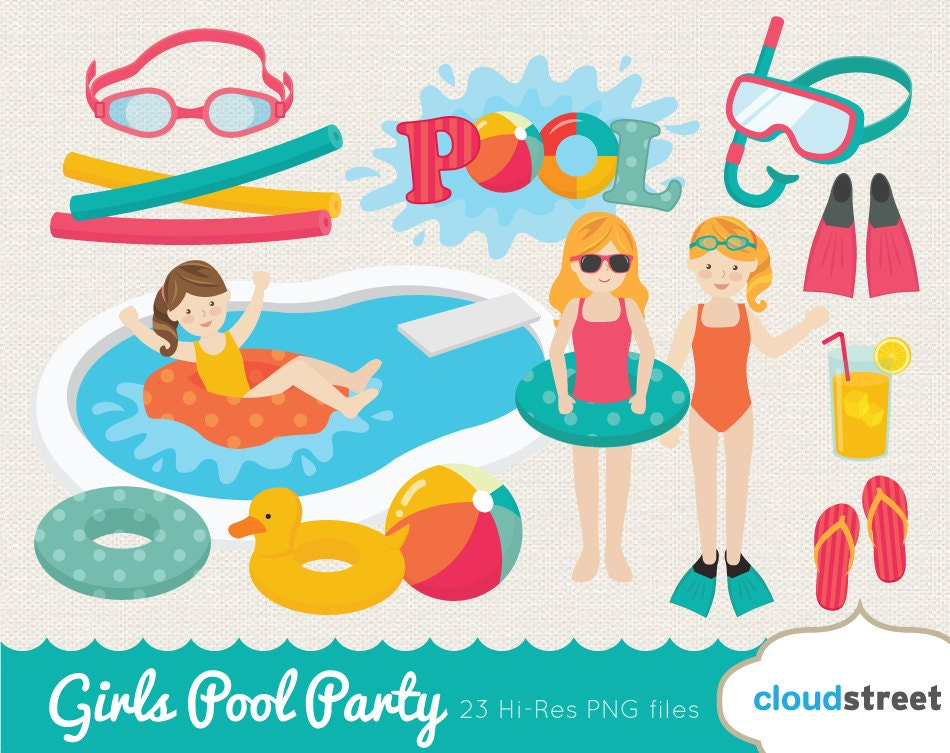 20 off girls pool party clip art pool clipart girl pool for Free clipart swimming pool party