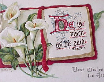 Lovely Edwardian Era Postcard-Lilies for Easter