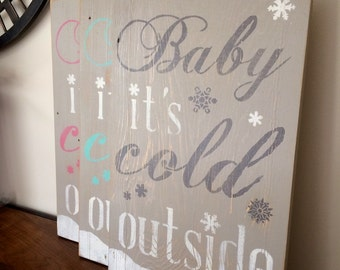 Baby Its Cold Outside Sign Distressed Subway Wall Art for the holidays christmas xmas
